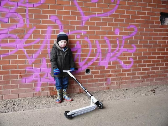 graffiti and scooters