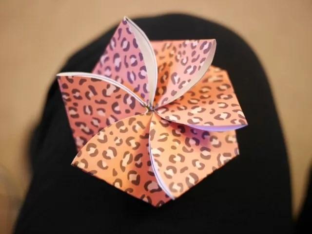 flower origami notelet