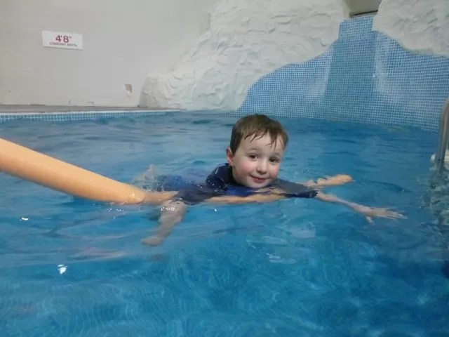 trying out the swimming pool