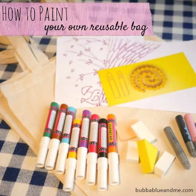 How to and what you need to paint your own canvas reusable bags - Bubbablueandme