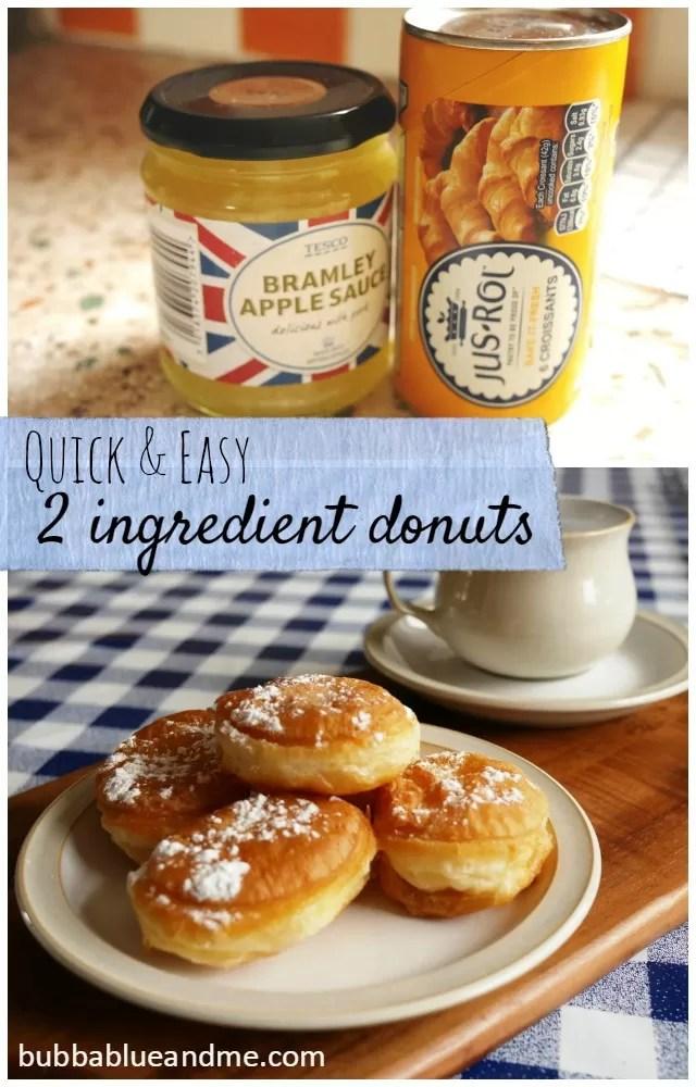 2 ingredient apple filled donuts - Bubbablueandme
