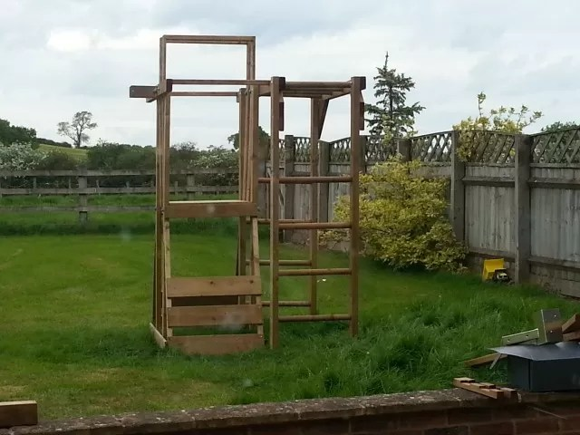 half completed Dunster house climbing frame