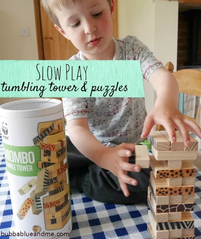 Slow play with Great Gizmos WWF Tumbling Tower and jigsaw puzzles