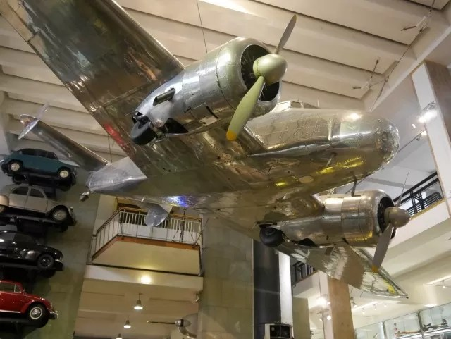 silver plane at science museum