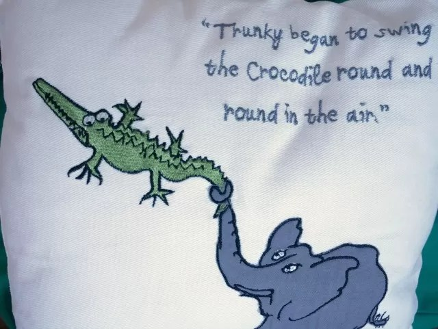 Close up of Roald Dahl Enormous Crocodile cushion - Bubbablueandme