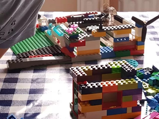 big and smaller lego house