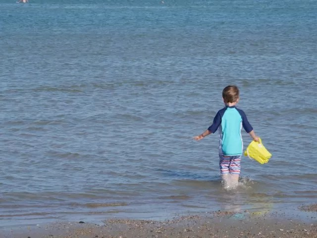 paddling in the sea at Weymouth