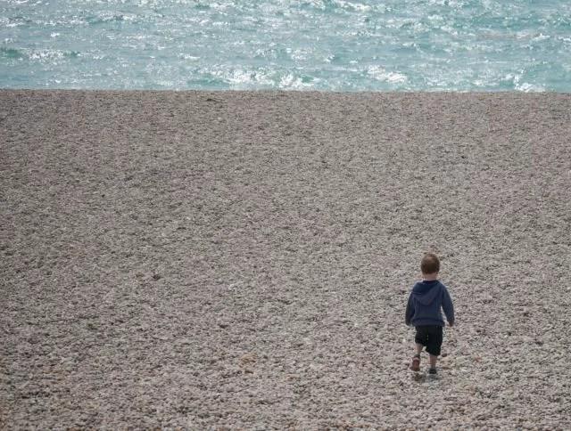 Walking down Chesil Beach