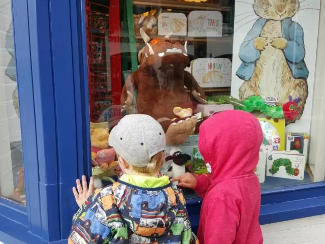 Window shopping for Peter Rabbit and Gruffalo