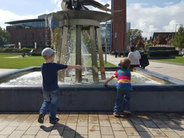playing in the water fountain Stratford