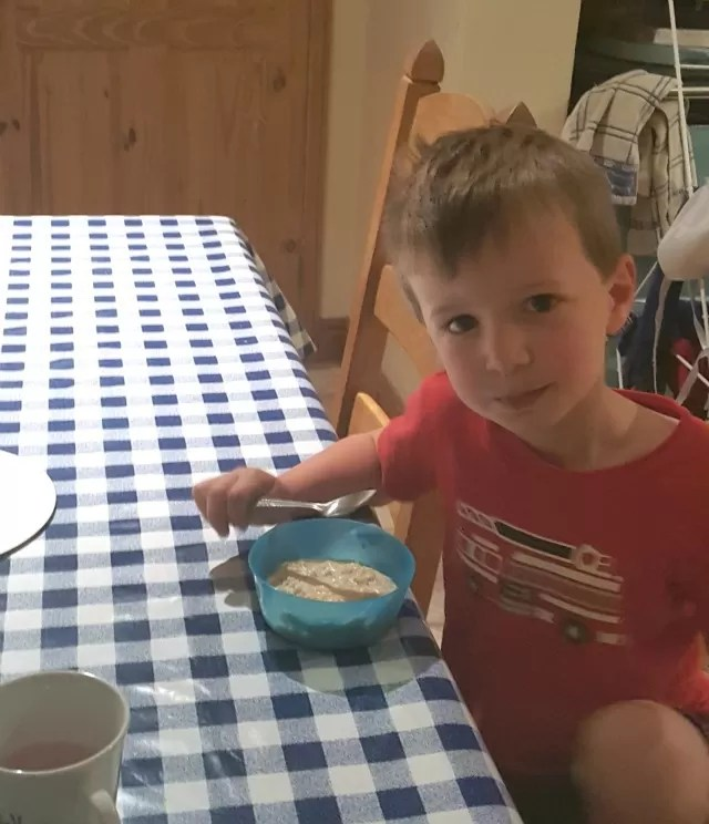 early morning porridge breakfast