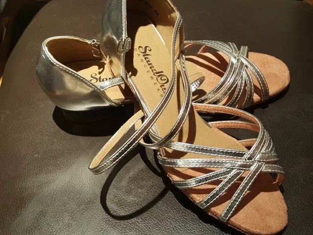 new silver west coast swing dance shoes