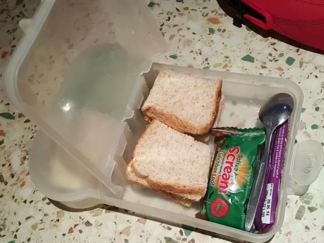 making his own lunchbox