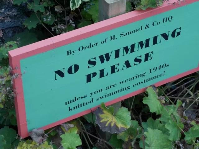 no swimming sign at Upton House