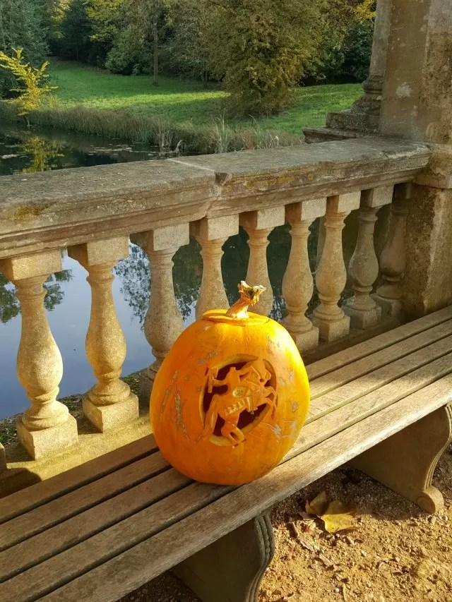 Stowe's headless rider pumpkin