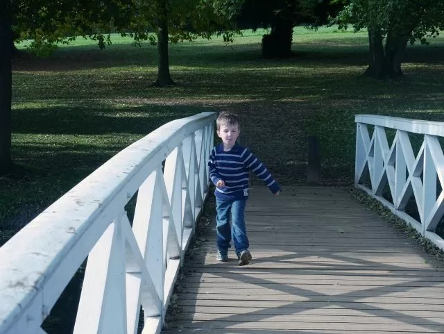 running over the wooden bridge at Stowe