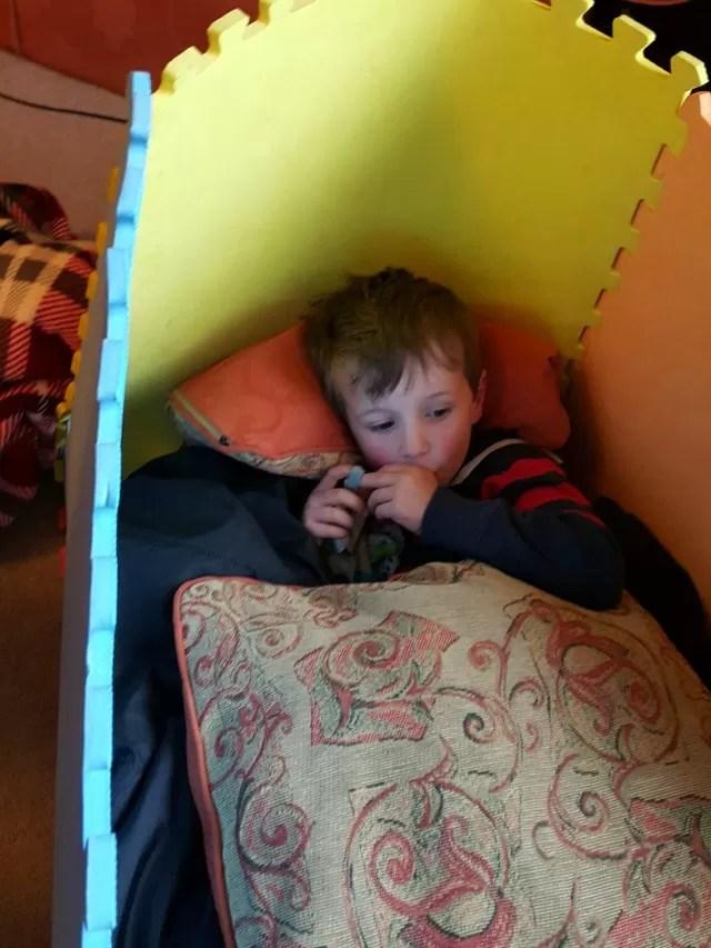 Snuggling in his den