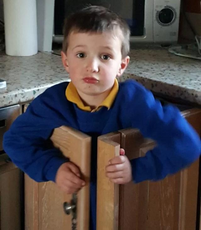 Shutting himself in the kitchen cupboard