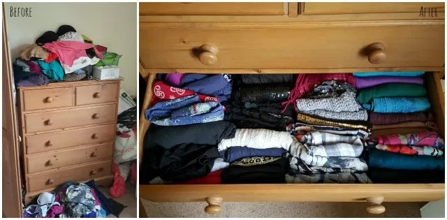 before and after clothes declutter and tidy via konmari method