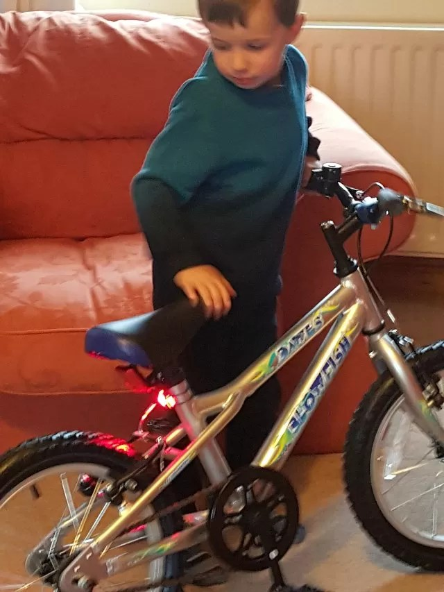 checking out his new bike