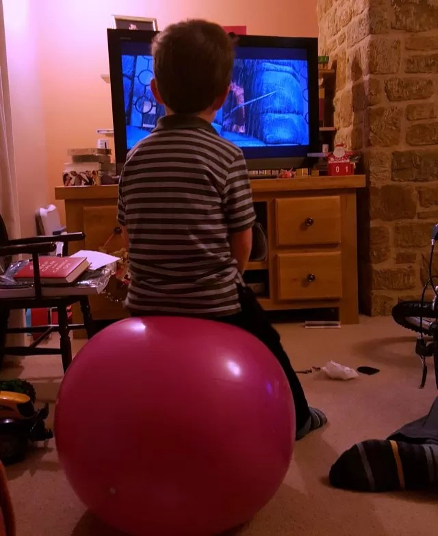 comfy seat on a space hopper to watch tv