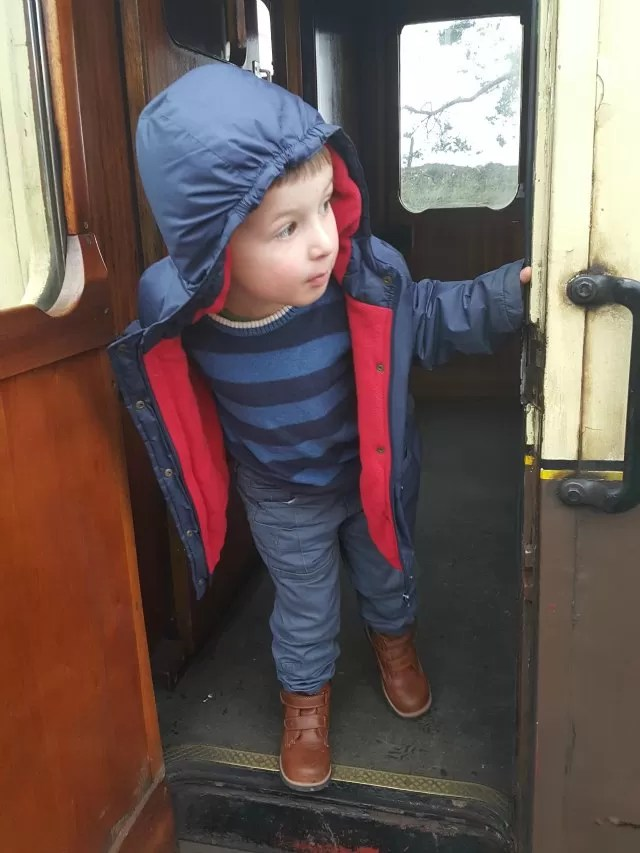 looking out of the steam train