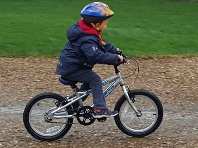 riding his new bike