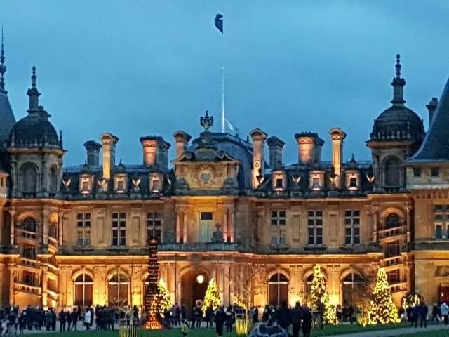 waddesdon manor lit up for Christmas