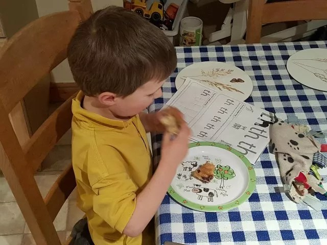 School days - Phonics food and his blanket