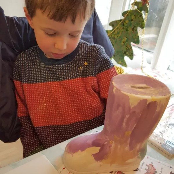 Wet weather activity – pottery painting at The Pottery Place