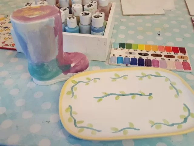 painting pottery at The Pottery Place