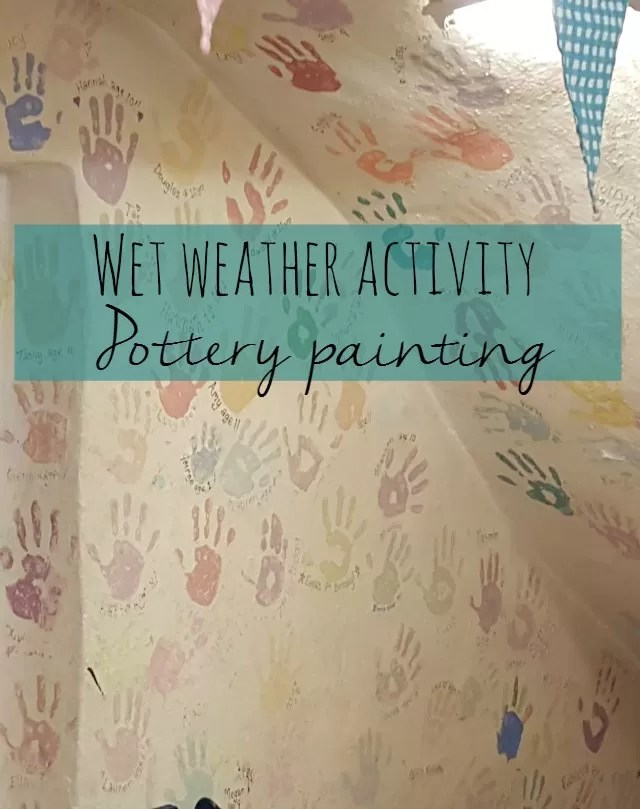 wet weather activity - pottery painting  Bubbablue and me