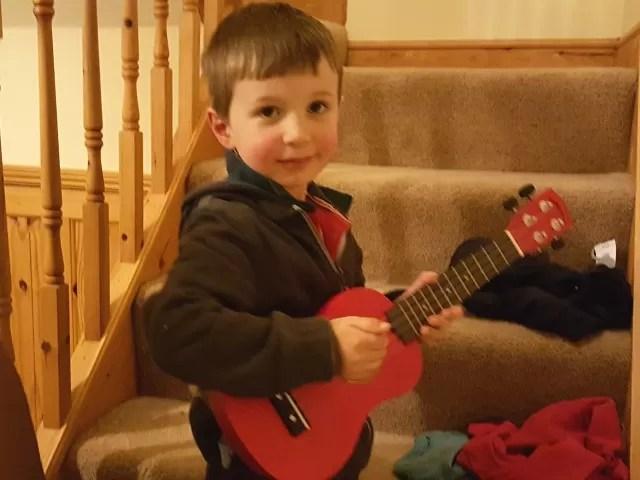 playing ukelele