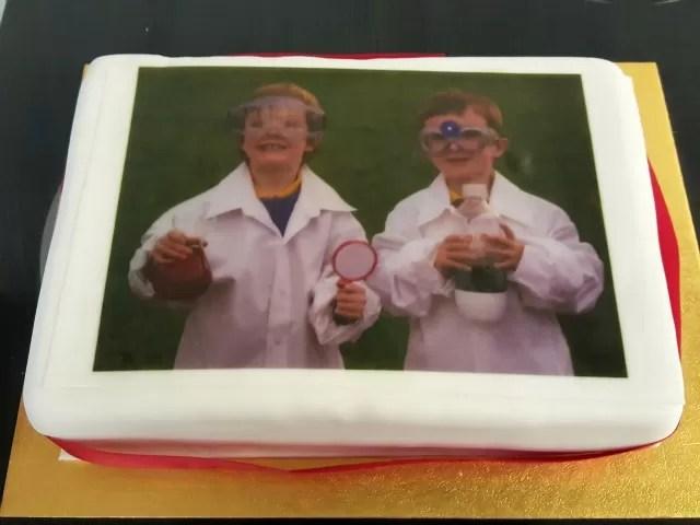 birthday science photo cake
