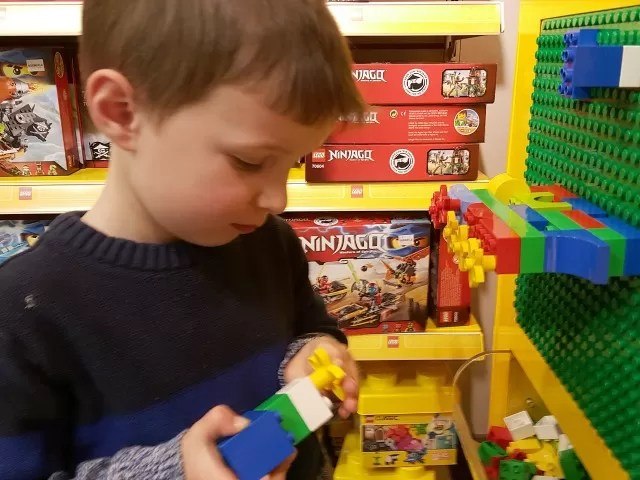 playing Duplo in Boswells toy department