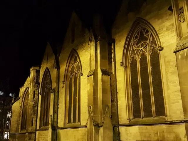 lit up church windows in Oxford
