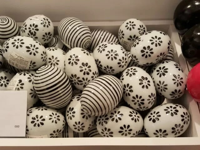 black and white porcelain eggs in Tiger