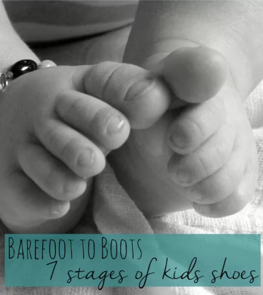 barefoot to boots, 7 stages of kids shoes Bubbablue and me