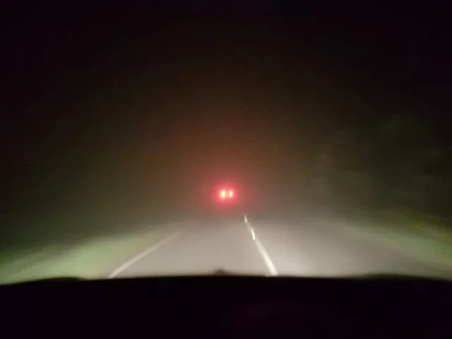 foggy evening on the roads
