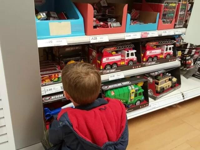 choosing toys in Tesco