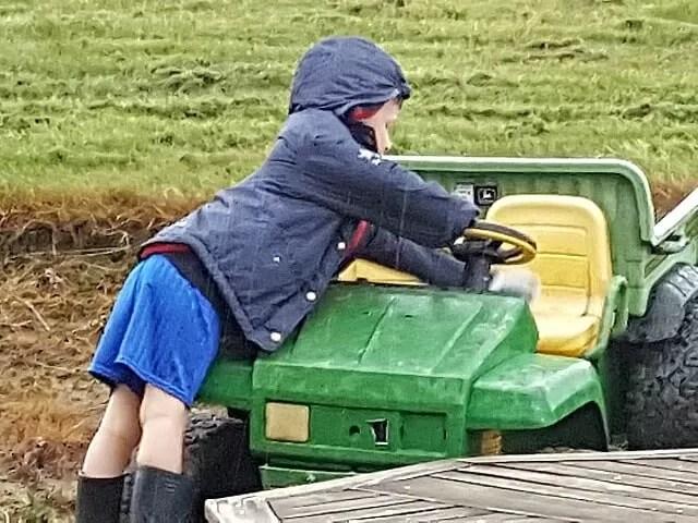 washing the toy gator in the rain