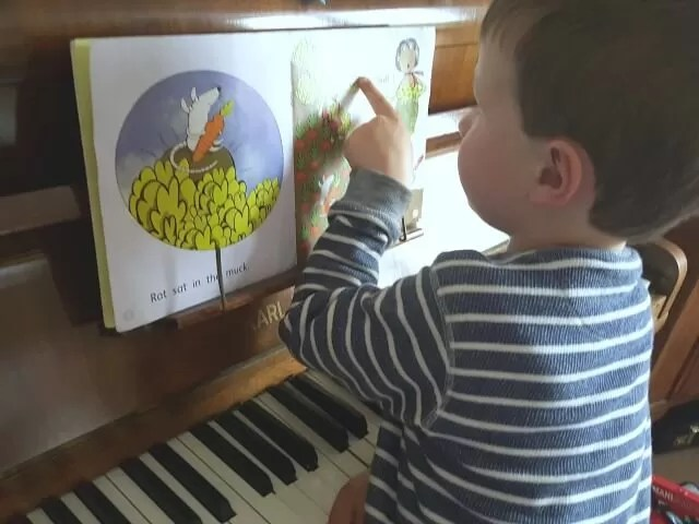 playing the piano and reading books