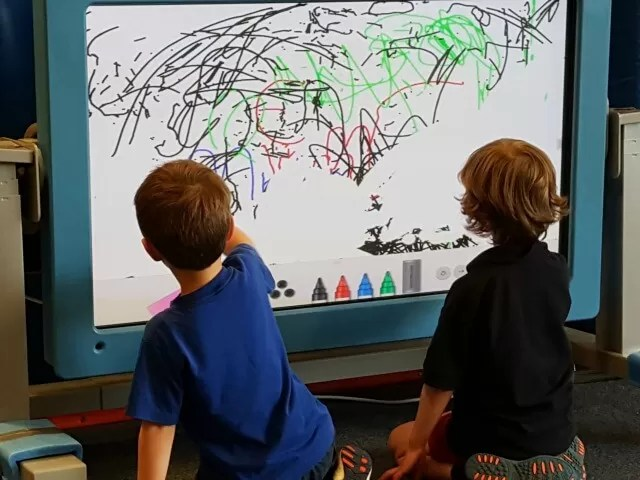 Drawing on a soft play area white board