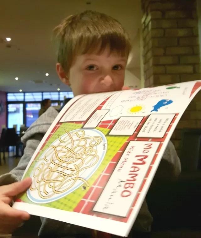 checking out the mo mambo kids menu