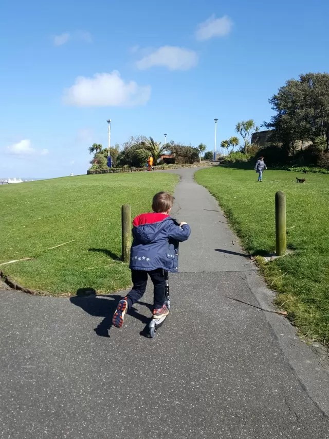 scooting up an Eastbourne hill