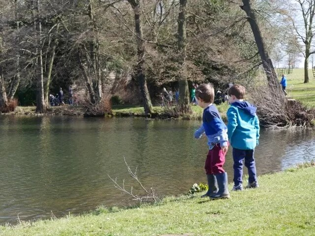 throwing sticks in the lake at stowe gardens