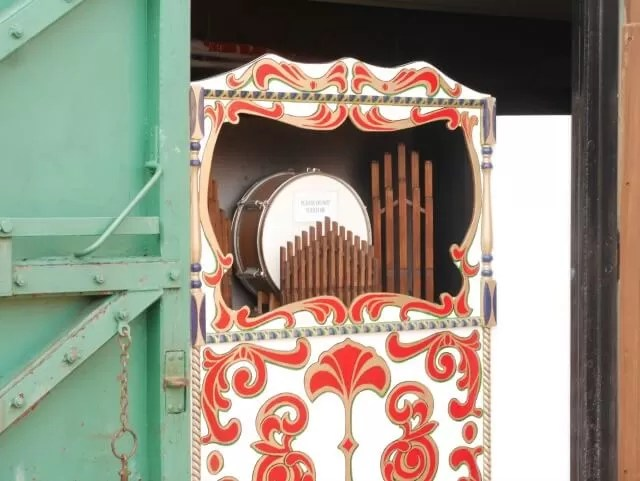 musical hurdy gurdy at Eastbourne miniature steam railway