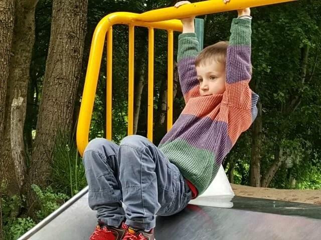 just hanging around off the slide