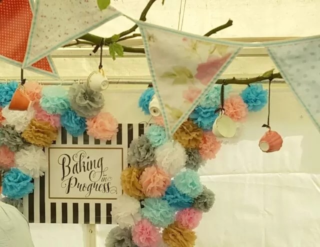 pretty shabby chic pom poms and bunting at Feast weekend