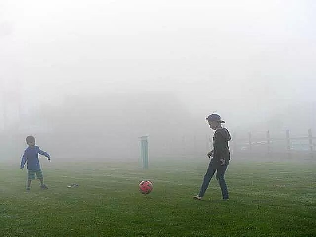 football in the fog at Warcombe farm campsite